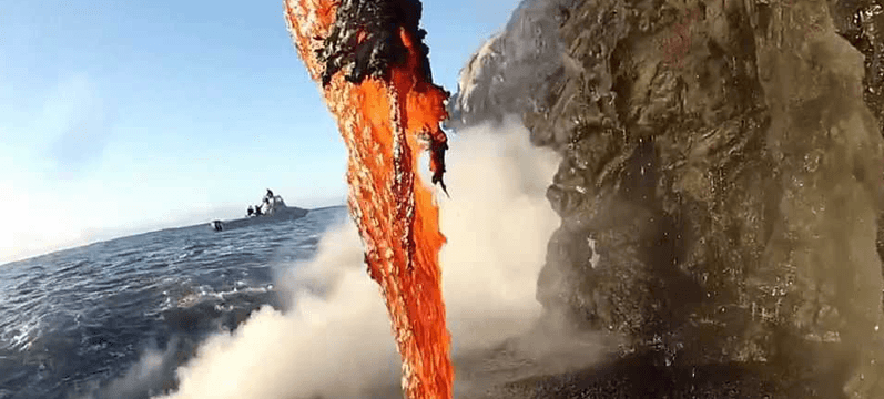 Lava creating a black sand beach